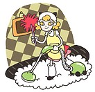 A girl cleaning the house with a vacuum and duster