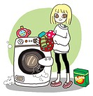 Young woman doing her laundry (thumbnail)