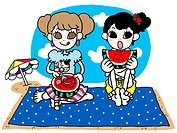 Two girls eating watermelon at the beach