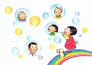 A girl blowing bubbles with pictures of her family in the bubbles