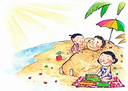 A family having a day out at the beach (thumbnail)