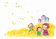 A mother playing with her children in a flower field with the city in the background