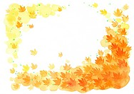 Illustration of autumn maple leaves in a frame