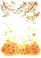 Fruit tree and falling leaves