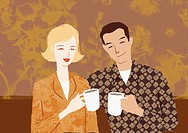 A couple having morning coffee together