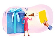 A woman with a blow horn, a hand holding up a yellow card and a giant gift box