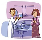 A scientist examining a womans kitchen tap water