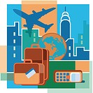 A montage of an airplane, high_rise buildings, luggage, the earth, and a cell phone