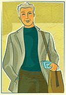 An elderly man with a shoulder bag holding travel documents (thumbnail)