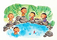 Children fishing in a pond