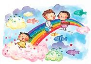 Children fishing from a rainbow
