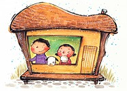Children in a little house