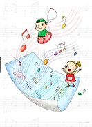 Children singing, standing on a sheet of music