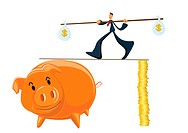 A businessman carrying money weights and walking a tight rope between a stack of coins and a piggy bank
