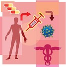 Montage illustration about gene therapy containing a man, pills, syringe, caduceus