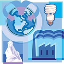 Montage illustration about global warming containing a low_watt lightbulb, iceberg, and industrial pollution