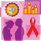 Montage illustration about the AIDS pandemic containing a couple, AIDS virus, AIDS ribbon, and candle vigil