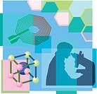 Montage illustration about nanotechnology containing a person looking through microscope, atoms