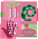 Montage illustration about genetic engineering containing a hand, plants, test tubes, DNA