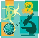 Montage illustration about pandemics containing a gas mask, biohazard, virus and microscope