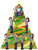 People lifting a man in a chair to the top of a pyramid