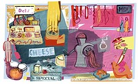 Collage of deli meats and cheeses