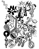Black and white abstract floral pattern
