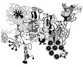 Black and white floral pattern and shapes