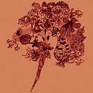 Orange bouquet of abstract floral patterns