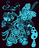 Light blue abstract floral shapes and patterns (thumbnail)