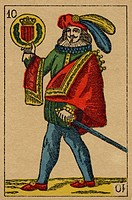 Vintage playing card showing a man with feathered hat holding a sword and a coat of arms