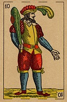 Vintage playing card showing a man with feathered hat holding a club