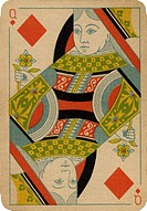 Queen of Diamonds vintage playing card