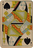 Queen of Spades vintage playing card
