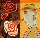 Illustration of a man smelling roses
