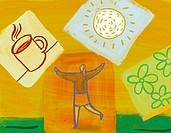 Collage of a woman with arms in the air, a cup of coffee, a sun, and flowers