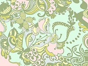 A green and pink whimsical floral background