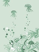 A whimsical green underwater floral background with jellyfish