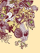 A whimsical brown, green and yellow floral background (thumbnail)