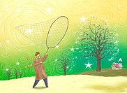 Young man in winter trying to catch stars with a large net