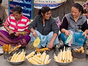 grilled corn for sale at the market in Darjeeling India