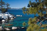 A man sea kayaking on Lake Tahoe near Incline Village in Nevada