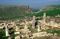 Israel the ruins of the forth century Synagogue at Arbel in the Galilee