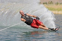 Man waterskiing, Bellevue, Idaho, USA