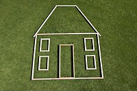 Outline of house in grass