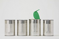 Cans in a row