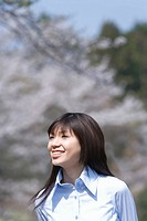 Young Woman and Cherry blossom, Differential Focus