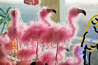 Pink feather Flamingos in a gift shop window.