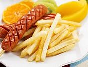 tangerine, plate, kiwi, fruit, garnish, peach, sausage