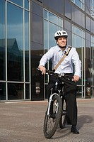 Office worker on bicycle